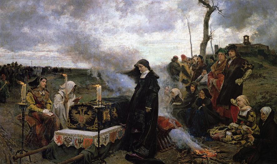 Хуана I Безумная совершает бдение у гроба своего супруга Филиппа Красивого