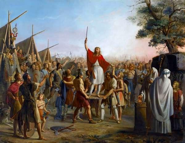 Мифический король франков Фарамунд провозглашён правителем после взятия Трира. Реальный Фарамунд был братом парижского епископа Рагнемунда, жил в VI веке.