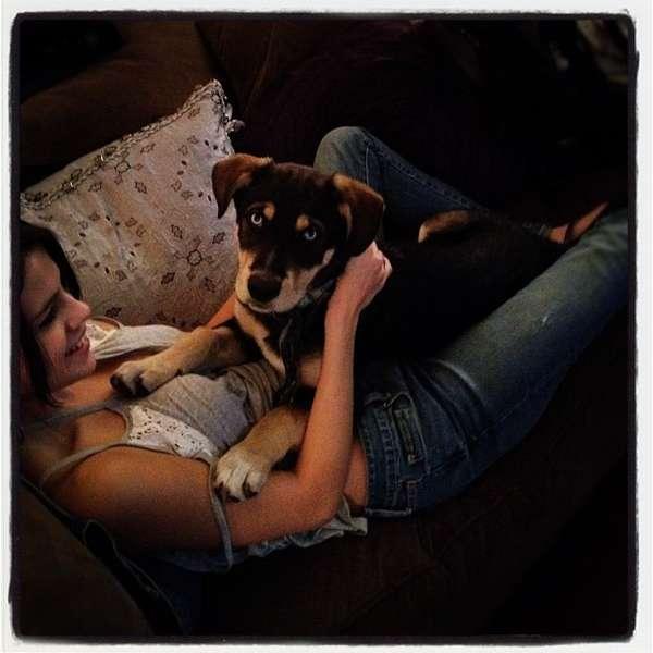 Селена Гомес со своей собакой фото