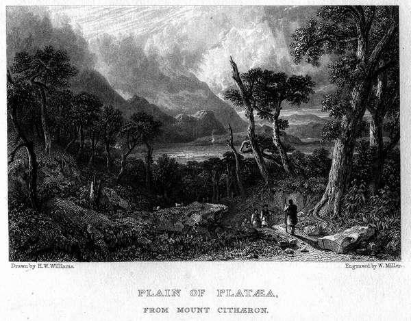 Уильям Миллер «Вид Платейской равнины» Гравюра 1829 г.