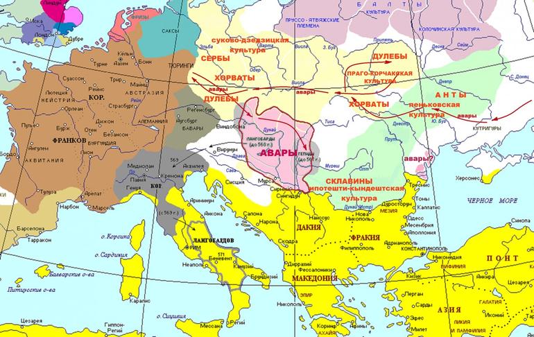 Аварский каганат на карте Европы