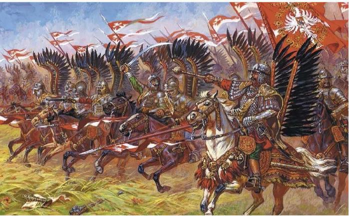 Атака польской кавалерии, так называемых крылатых гусар