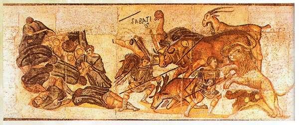 Сцена венацио с участием быка на одной из сохранившихся римских фреск.