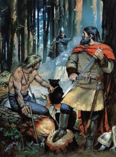 Встреча готов и сарматов в лесу