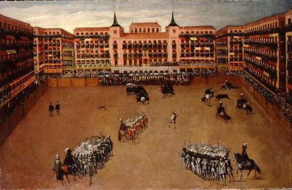 Площадь Пласа Майор в Мадриде во время проведения корриды, миниатюра 1664 год.