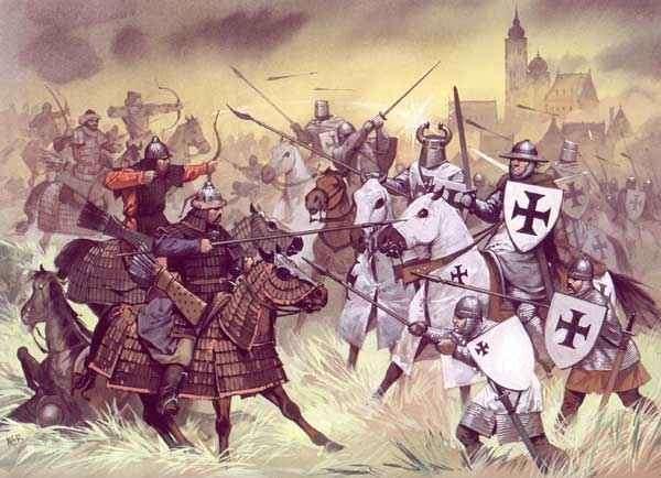 Рыцари Тевтонского ордена отражают атаки тяжелой кавалерии Монголов в бою при Лейнице, 1241 г.
