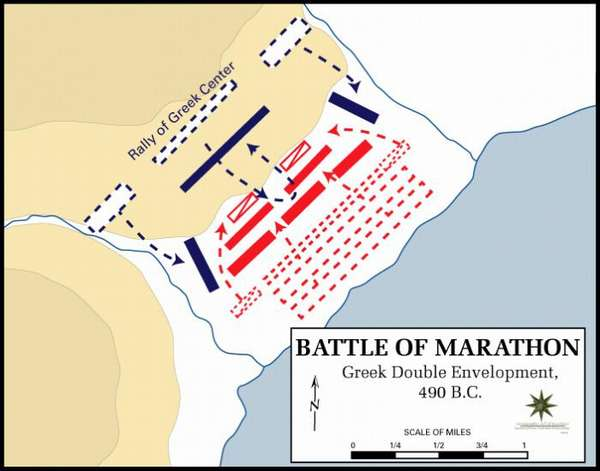 Схема битвы при Марафоне